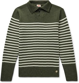 Armor Lux Logo-Appliqued Striped Wool Half-Zip Sweater - Men - Green