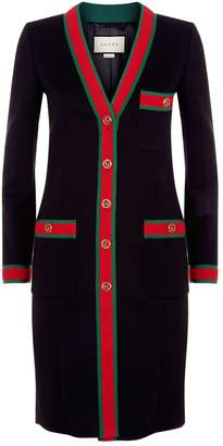 Gucci Web Trim Wool Coat