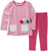Kids Headquarters 2-Pc. Striped Flowers Tunic & Dot-Print Leggings Set, Baby Girls