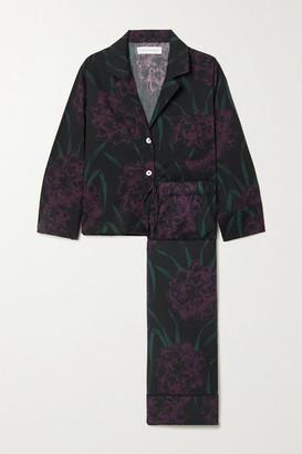 Desmond & Dempsey Narcissus Floral-print Organic Cotton Pajama Set - Black