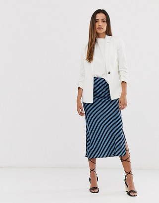 AX Paris blue and black stripe midi skirt