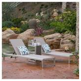Christopher Knight Home Cape Coral 3pc All-Weather Wicker/Mesh Patio Chaise w/ Side Table - Gray