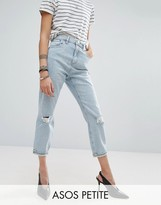Asos Mom Jeans in Beech Wash with Busted Knees and Chewed Hem