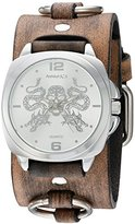 Nemesis 'Dragon King of Skulls' Quartz Stainless Steel and Leather Automatic Watch, Color:Brown (Model: KDFRB910S)
