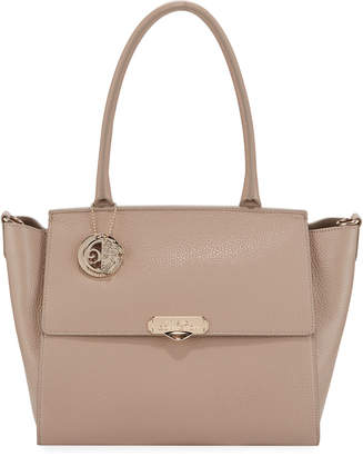 Versace Saffiano Large Top-Handle Crossbody Bag, Sand