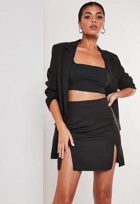 Missguided Petite Black Co Ord Double Split Mini Skirt