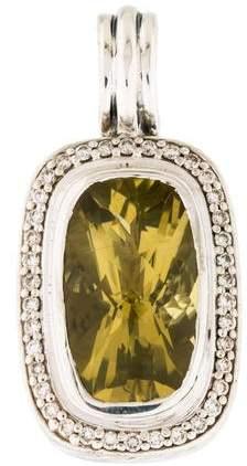 David Yurman Lemon Citrine & Diamond Rectangular Albion Enhancer Pendant