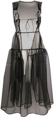 Cecilie Bahnsen Sheer Flared Midi Dress