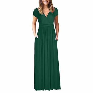 Toamen Women's Dress Toamen Womens Maxi Dresses Sale 2019 New Wrap V-Neck Short Sleeve Loose Plain Dress Casual Long Dresses with Pockets(Navy 14)