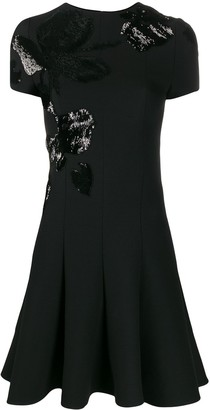 Valentino Sequinned Floral Motif Pleated Dress
