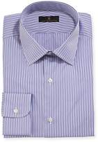 Ike Behar Gold Label Striped Dress Shirt, Purple/Gray