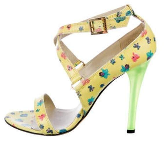 Versace Leather Floral Sandals Yellow Leather Floral Sandals