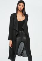 Missguided Black Chiffon Waterfall Duster Coat