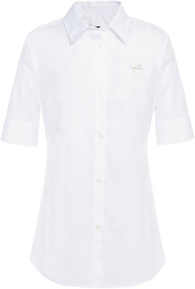 Love Moschino Appliqued Stretch-cotton Poplin Shirt