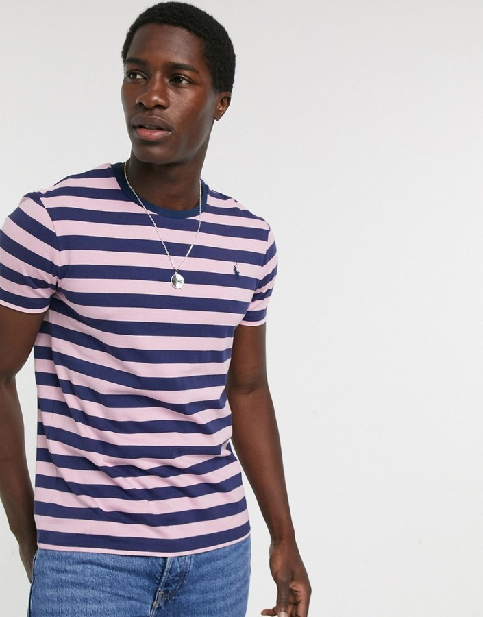 Polo Ralph Lauren player logo stripe t-shirt custom regular fit in pink/navy