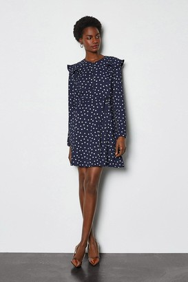 Karen Millen Graphic Print Ruffle Long Sleeve Short Dress