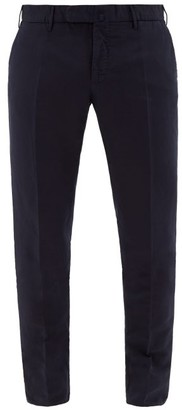 Incotex Slim-fit Linen-blend Chino Trousers - Mens - Navy