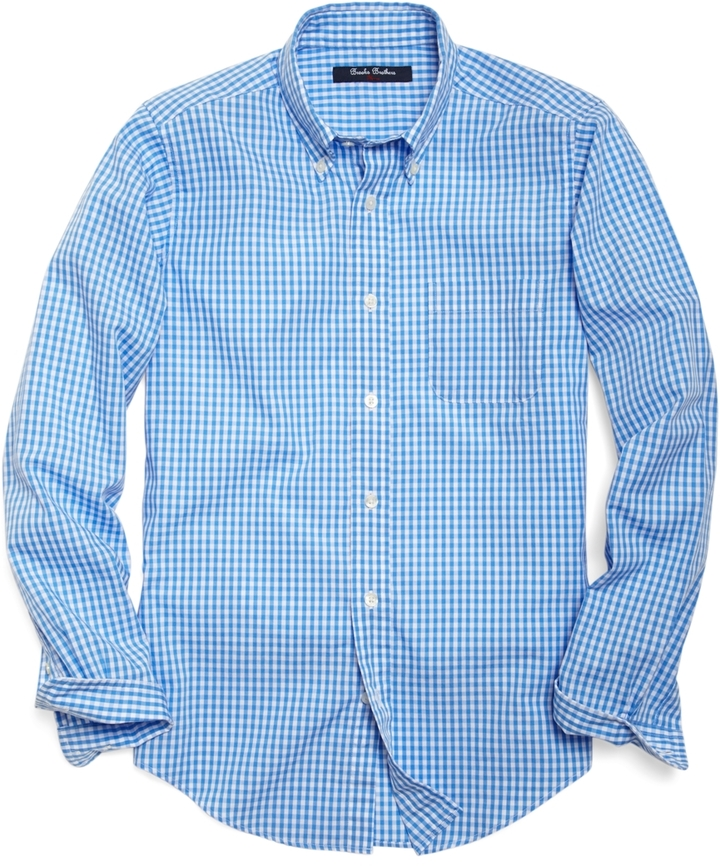 Brooks Brothers Non-Iron Poplin Gingham Sport Shirt