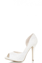 Quiz White Lace Cut Out Peep Toe Court Shoes