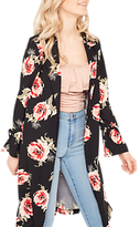 Miss Selfridge Floral Duster Coat, Black