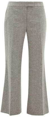 Marina Moscone - Tailored Virgin-wool Blend Flannel Trousers - Womens - Grey