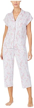 Lauren Ralph Lauren Cotton Rayon Jersey Knit Short Sleeve Notch Collar Dolman Capri Pants Pajama Set (Pink Floral) Women's Pajama Sets