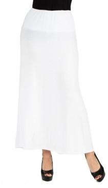 24Seven Comfort Apparel Women Elastic Waist Solid Color Maxi Skirt