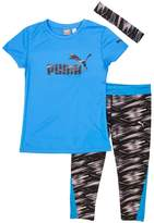 Puma Girls' Capri Set with Headband -Medium-8/10, /Black