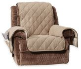 Sure Fit Reversible Flannel and Sherpa Recliner Cover in Walnut