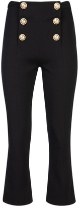 Balmain Embellished Button Detail Cropped Trousers