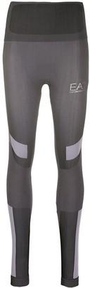 Ea7 Emporio Armani Ribbed Knit Logo Print Leggings