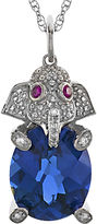 JCPenney FINE JEWELRY Simulated Blue Sapphire & Lab-Created White Sapphire Elephant Pendant Necklace