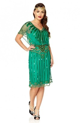 Gatsbylady London Angel Sleeve Flapper Dress in Emerald Green