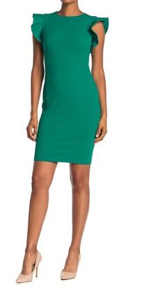 Calvin Klein Ruffle Sleeve Sheath Dress