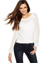 INC International Concepts Petite Open-Knit High-Low Sweater