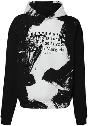 Maison Margiela Logo Painted Cotton Sweatshirt Hoodie