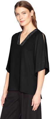 Chaus Women's Cold Shoulder Embroidered V-Neck Blouse