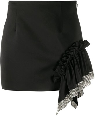 Area Embellished Trim Mini Skirt