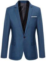 Sun Lorence(TM) Men Business Casual Slim Fit Formal Single Button Blazer Suit Coats Darkblue 2XL