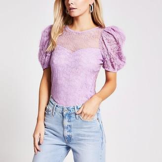 River Island Petite purple textured puff sleeve top