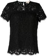 MICHAEL Michael Kors lace T-shirt - women - Cotton/Nylon/Polyester/Viscose - M