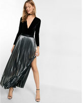 Express metallic slit front pleated maxi skirt