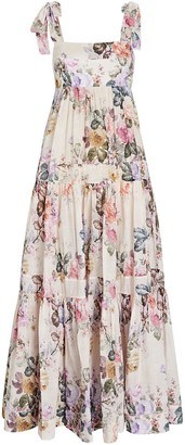 Zimmermann Brighton Tie-Shoulder Floral Midi Dress