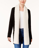 Style&Co. Style & Co Petite Fleece-Collar Cardigan, Created for Macy's