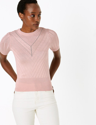 Marks and Spencer Ribbed Crew Neck Short Sleeve Knitted Top