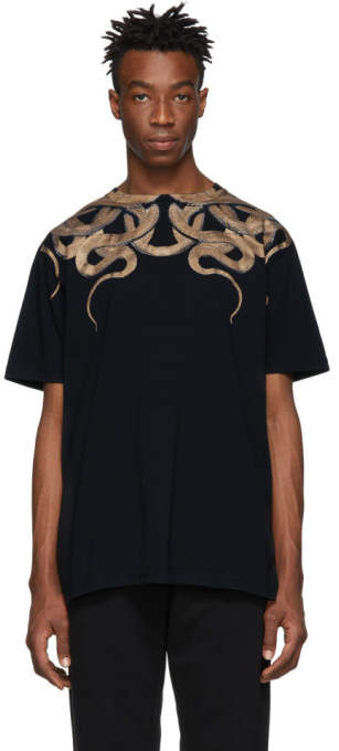 Marcelo Burlon County of Milan Black and Gold Snakes T-Shirt