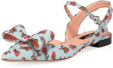 Rochas Flower-Embroidered Ankle-Strap Flat