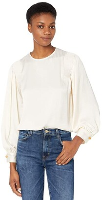 Vince Smocked Long Sleeve Blouse (Chiffon) Women's Clothing