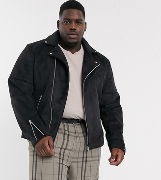 ASOS DESIGN Plus faux suede biker jacket in black