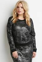 Forever 21 FOREVER 21+ Plus Size Abstract-Patterned Metallic Knit Top
